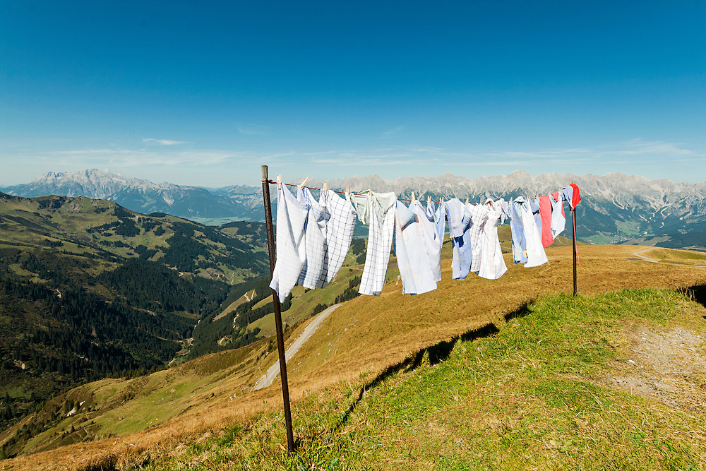 Laundry drying high up in the Austrian Alps