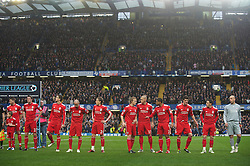 LONDON, ENGLAND - Sunday, February 6, 2011: Liverpool's players before the Premiership match against Chelsea at Stamford Bridge. captain Steven Gerrard MBE, Jamie Carragher, Daniel Agger, Raul Meireles, Lucas Leiva, Dirk Kuyt, Martin Skrtel, Glen Johnson, Martin Kelly, Maximiliano Ruben Maxi Rodriguez and goalkeeper Jose Reina. (Photo by David Rawcliffe/Propaganda)