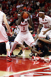 16 November 2015: Quintin Brewer (2) comes up with a loose ball that was briefly owned by at least 3 other players during a scuffle under the basket. Illinois State Redbirds host the Morehead State Eagles at Redbird Arena in Normal Illinois (Photo by Alan Look)