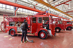 © Licensed to London News Pictures. 09/09/2017. London, UK. A visitor views a Dennis F106 Pump Escape 1968 fire engine on show at London Fire Brigade's annual Fire Engine Festival in Lambeth. The earliest motorised fire engines still working, London Fire Brigade's brand new pump as well firefighter uniforms are on display. Photo credit : Stephen Chung/LNP