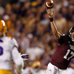 November 10, 2012; Baton Rouge, LA, USA;  Mississippi State Bulldogs quarterback Tyler Russell (17) passes against the LSU Tigers during the first quarter of a game at Tiger Stadium.  Mandatory Credit: Derick E. Hingle-US PRESSWIRE