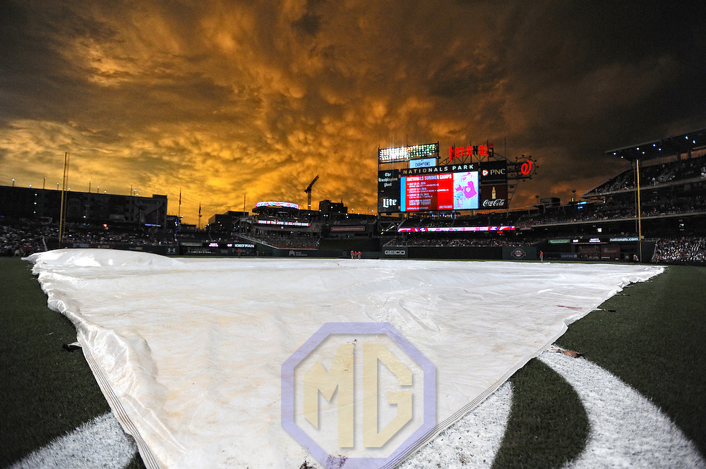 23 June 2015:  A general view of Nationals Park in Washington, D.C. following a rain delay with a golden sky.