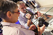 Photokina in Cologne ist the World's biggest bi-annual photo fair..Panasonic stand. Lumix GH3.