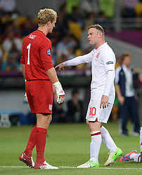 Joe Hart (li, England) and Wayne Rooney during Italy V England Quarter-finals in the Euro 2012, Sunday June 24, 2012, in Kiev, Ukraine. Photo By Imago/i-Images