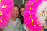 Yvonnia Plank and Ciara Tierney  from St John The  Apostle  national school in Knocknacarra at the Galway education centre, for a Chinese experience  . Photo:Andrew Downes.]