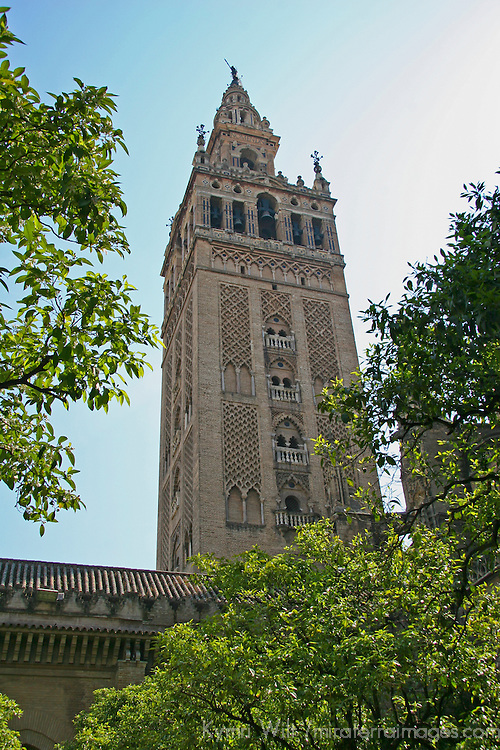 Europe, Spain, Seville. The Cathedral of Seville, Cathedral de Sevilla. View of the Cathedral and La Gironda, the belltower minaret.