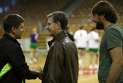 Coach Robert Begus and Franjo Bobinac and Jure Jankovic after handball game between women team RK Olimpija vs ZRK Brezice at 1st round of National Championship, on September 13, 2008, in Arena Tivoli, Ljubljana, Slovenija. (Photo by Vid Ponikvar / Sportal Images)