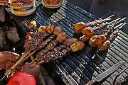 """Anticuchos"" traditional peruvian food prepared with the heart of the cow or bull and then grilled with local condiments."