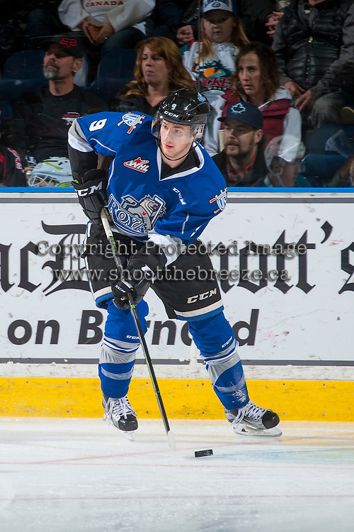 KELOWNA, CANADA - DECEMBER 30: Jack Walker #9 of the Victoria Royals skates with the puck against the Kelowna Rockets on December 30, 2016 at Prospera Place in Kelowna, British Columbia, Canada.  (Photo by Marissa Baecker/Shoot the Breeze)  *** Local Caption ***