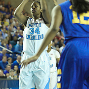 North Carolina Forward Xylina McDaniel (34) takes a outside in the first half of a 2013 Round Two Women's NCAA tournament game against No. 6 Delaware Tuesday, March 26, 2013, at the Bob Carpenter Center in Newark Delaware.