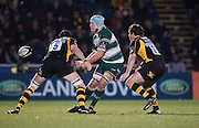 Wycombe, GREAT BRITAIN,   Tigers' Jordan CRANE, psses the ball, during the Guinness Premiership rugby game, London Wasps vs Leicester Tigers at Adam's Park Stadium, Bucks, England, on Sun 15.02.2009. [Photo, Peter Spurrier/Intersport-images]