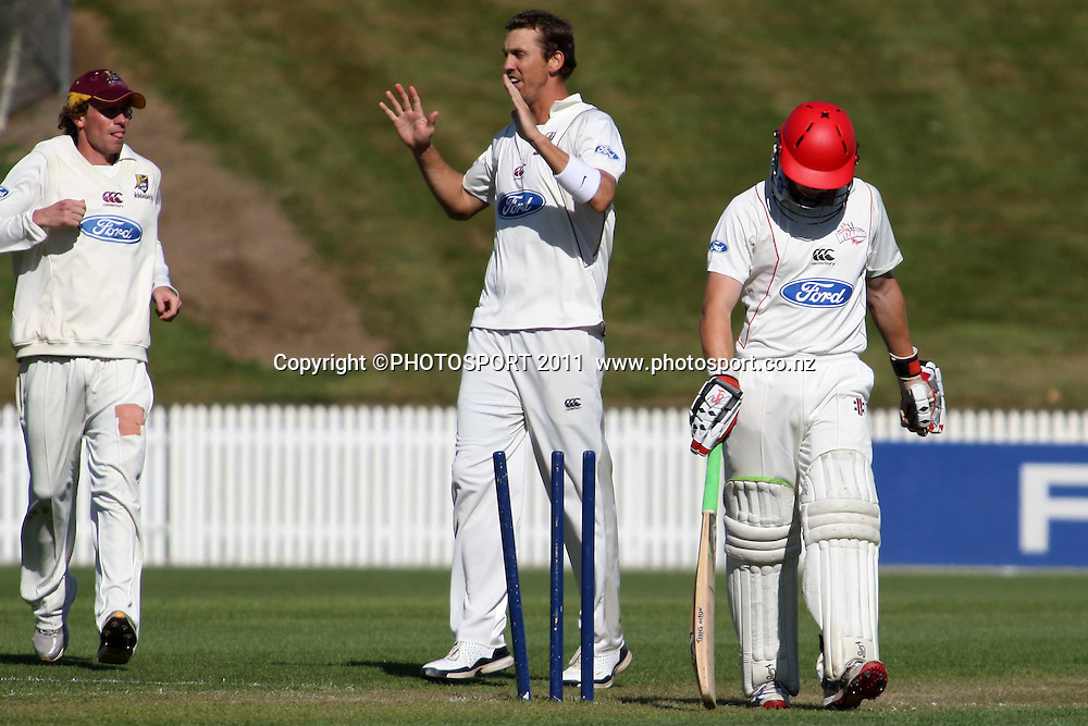 Henry Nicholls loses his wicket to the bowling of Brent Arnel during the plunket shield cricket match between the Northern Knights and Canterbury Wizards . Domestic 4 day cricket, Seddon Park, Hamilton. 29 November 2011. Photo: Dion Mellow / photosport.co.nz