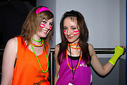 Two young New Rave girls with fluoresent clothing and face-paint, Klaxons gig, Feburary 2007