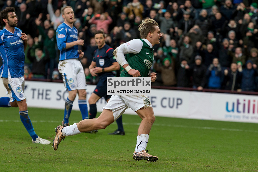 Hibernian v St Johnstone Scottish League Cup semi-final 2015-2016  <br /> <br /> Jason Cummings (Hibernian) celebrates opening the scoreing from the penalty spot during the Hibernian v St Johnstone, Scottish League Cup semi-final at Tynecastle Stadium on Saturday 30 January 2016.<br /> <br /> Picture: Alan Rennie