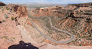 Distant View pullout, Rim Rock Drive, Colorado National Monument, near Grand Junction and Fruita, Colorado, USA. This desert land is high on the Colorado Plateau dotted with pinion and juniper forests. This panorama was stitched from 9 overlapping photos.