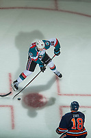KELOWNA, CANADA - FEBRUARY 24:  Kole Lind #16 of the Kelowna Rockets takes a shot from the face off circle against the Kamloops Blazers on February 24, 2018 at Prospera Place in Kelowna, British Columbia, Canada.  (Photo by Marissa Baecker/Shoot the Breeze)  *** Local Caption ***