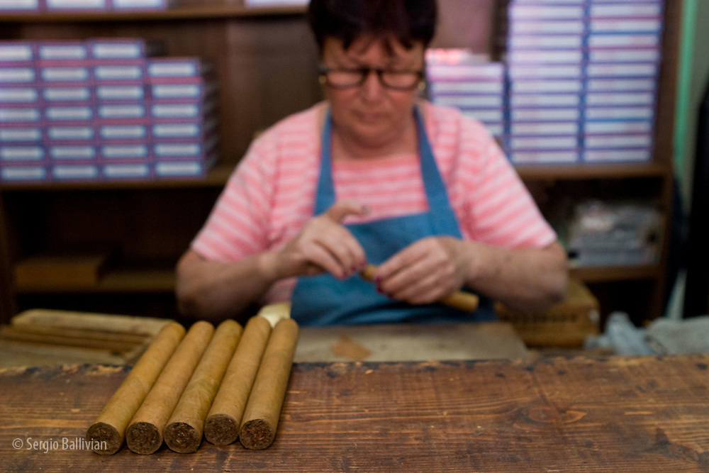 A worker in a cuban-style cigar factory in Little Havana of Miami, Florida