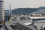 Naha's new monorail crossing Kokuba River.