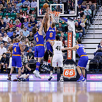 09 December 2015: New York Knicks forward Kristaps Porzingis (6) blocks Utah Jazz forward Derrick Favors (15) during the Utah Jazz 106-85 victory over the New York Knicks, at the Vivint Smart Home Arena, Salt Lake City, Utah, USA.