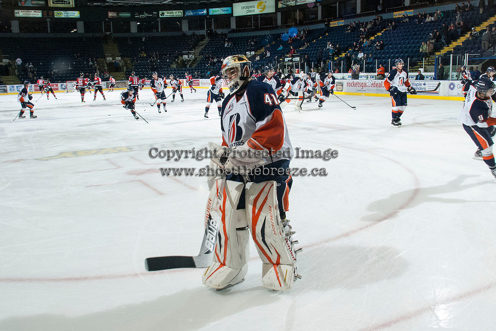 KELOWNA, CANADA - NOVEMBER 1: Taran Kozun #41 of the Kamloops Blazers warms up on the ice as the Kamloops Blazers visit the Kelowna Rockets on November 1, 2012 at Prospera Place in Kelowna, British Columbia, Canada (Photo by Marissa Baecker/Shoot the Breeze) *** Local Caption ***