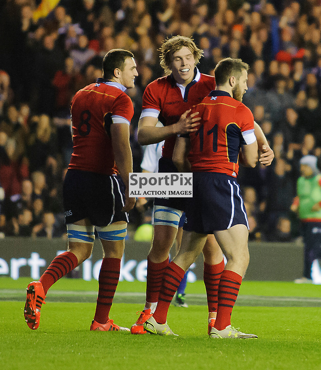 15/11/2014, Murrayfield, Scotland, Tommy Seymour  is congratulated by Adam Ashe and Jonny Gray  during the Scotland v New Zealand Autumn Test game,.......(c) COLIN LUNN | SportPix.org.uk