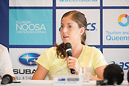 Ashleigh Gentle (AUS). Pre Race Press Conference. 2013 Noosa Triathlon Festival. Cairns, Queensland, Australia. 01/11/2013. Photo By Lucas Wroe