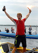 UNITED KINGDOM-LYMINGTON.  Army Doctors, Nick Dennison and Hamish Reid (pictured) cross the finishing line in the Solent near Lymington after setting a world record for rowing non-stop around the British Isles to raise money for Help for Heroes and the Army Benevolent Fund.. 01/07/2010. STEPHEN SIMPSON...