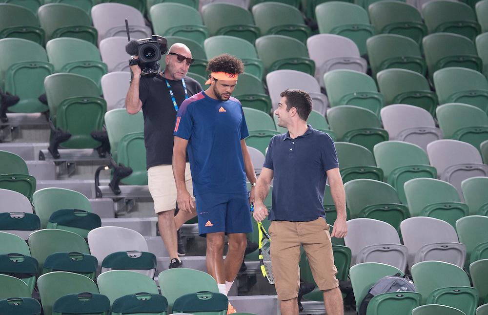 Jo Wilfreid Tsonga of France during a practice session ahead of the 2017 Australian Open at Melbourne Park on January 13, 2017 in Melbourne, Australia.<br /> (Ben Solomon/Tennis Australia)