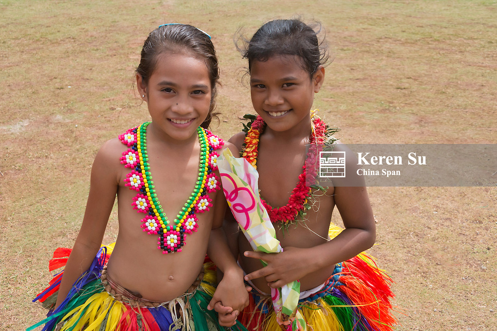 Little Yapese girls in traditional clothing at Yap Day Festival, Yap Island, Federated States of Micronesia