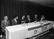 New Israeli Ambassador Meets Jewish Community.(T6)..1989..18.09.1989..09.18.1989..18th September 1989..The newly appointed Israeli Ambassador to Ireland,.Mr Yoav Biran, met with the Jewish Community in Ireland at the Israeli Embassy at Ballsbridge Dublin...Image shows Ambassador Biran and officials from the Jewish Community in Ireland  at the top table at the Israeli Embassy in Dublin.