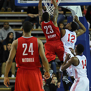Rio Grande Valley Vipers Forward Tony Bishop (23) dunks on Delaware 87ers Forward Ronald Roberts (12) in the first half of a NBA D-league regular season basketball game between the Delaware 87ers and the Rio Grande Valley Vipers (Houston Rockets) Saturday, Dec. 27, 2014 at The Bob Carpenter Sports Convocation Center in Newark, DEL