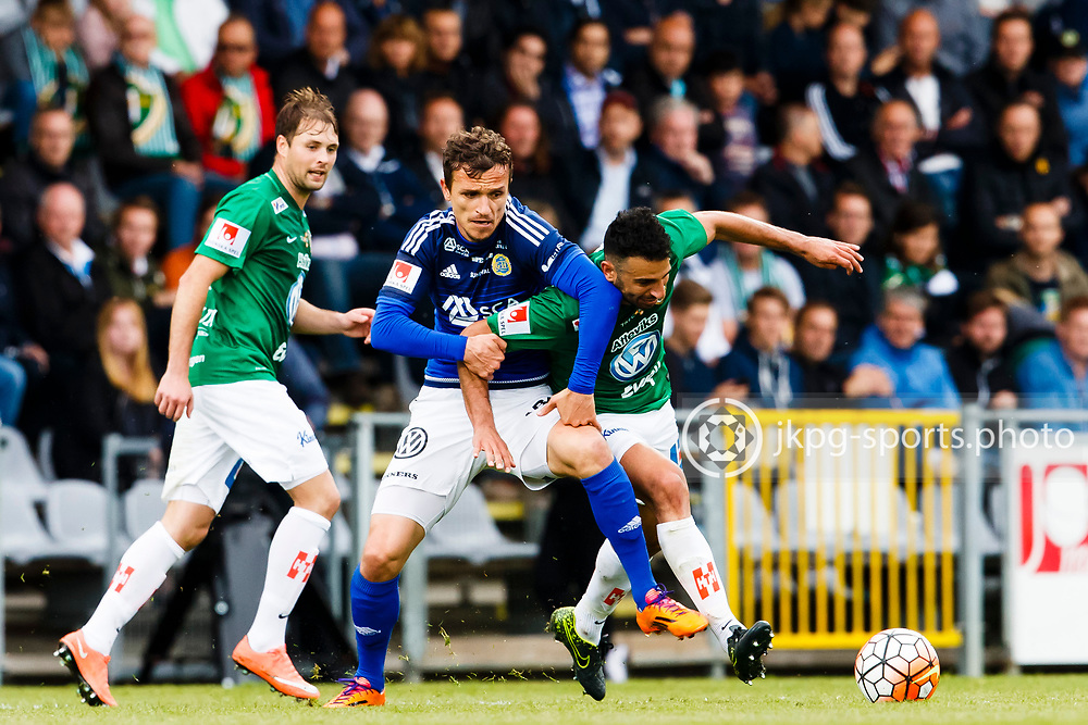 160528 Fotboll, Allsvenskan, J&ouml;nk&ouml;ping - Sundsvall<br /> (12) Shp&euml;tim Hasani, GIF Sundsvall vs (26) Andr&eacute; Calisir, J&ouml;nk&ouml;pings S&ouml;dra IF, singel action.<br /> &copy; Daniel Malmberg/Jkpg Sports Photo