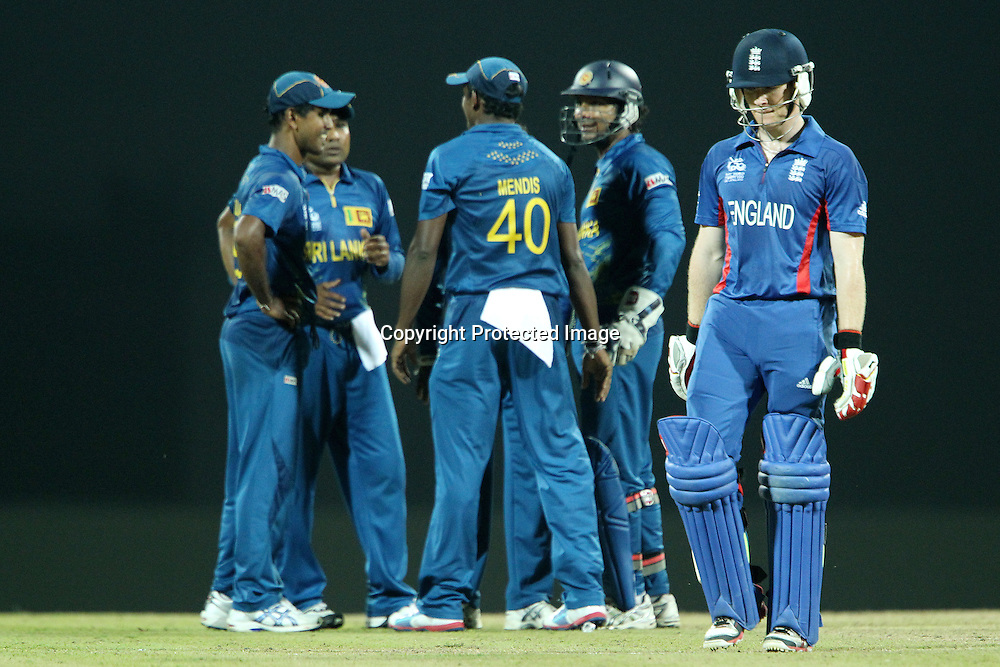 Eoin Morgan of England departs as Sri Lanka celebrate his wicket during the ICC World Twenty20 Super Eights match between England and Sri Lanka held at the  Pallekele Stadium in Kandy, Sri Lanka on the 1st October 2012<br /> <br /> Photo by Ron Gaunt/SPORTZPICS