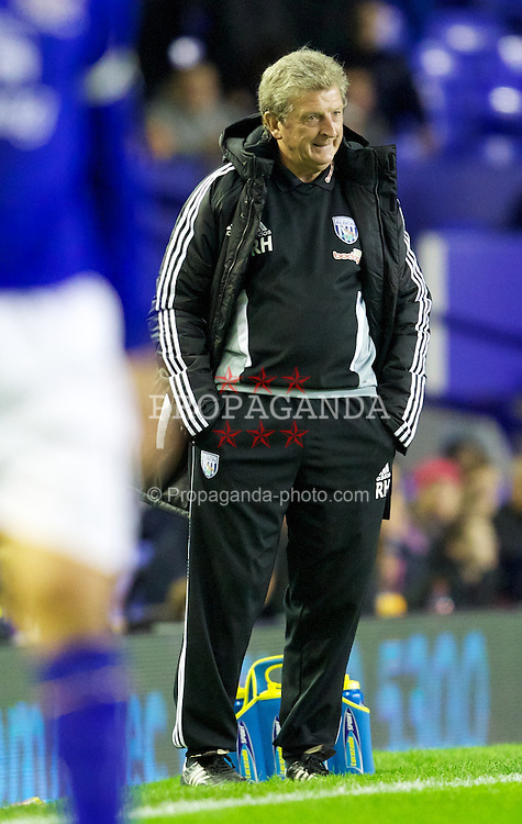 LIVERPOOL, ENGLAND - Wednesday, September 21, 2011: West Bromwich Albion's manager Roy Hodgson looks dejected during the Football League Cup 3rd Round match against Everton at Goodison Park. (Pic by Vegard Grott/Propaganda)