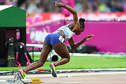 London, August 08 2017 . Dina Asher-Smith, Great Britain, in the women's 200m heats on day five of the IAAF London 2017 world Championships at the London Stadium. © Paul Davey.