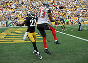 Tampa Bay Buccaneers wide receiver Vincent Jackson (83) leaps in the air as he tries to catch an incomplete fourth quarter pass while covered by Pittsburgh Steelers cornerback William Gay (22) on third down during the NFL week 4 regular season football game against the Pittsburgh Steelers on Sunday, Sept. 28, 2014 in Pittsburgh. The Bucs won the game 27-24. ©Paul Anthony Spinelli