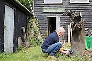 Furniture maker Adrian Swintead outside his Maulden Woods studio, Bedfordshire<br /> CREDIT: Vanessa Berberian for The Wall Street Journal<br /> GURU-SWINSTEAD