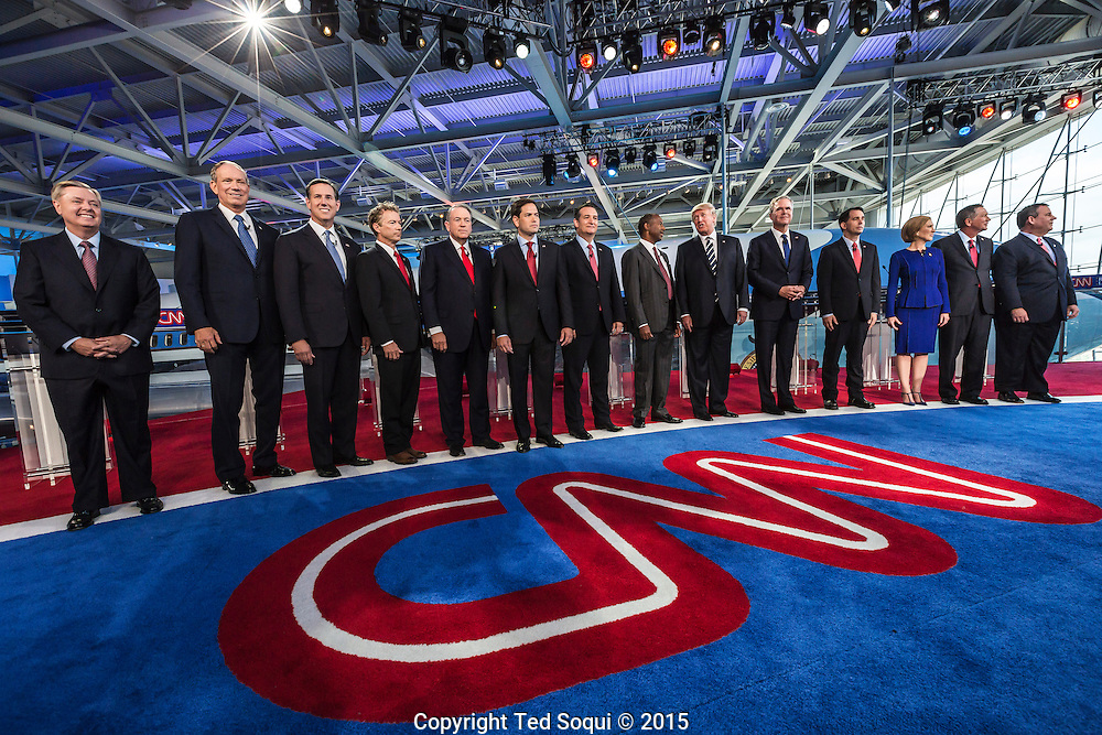 The GOP candidates.<br /> Spin room activity after the republican presidential debates at the Ronald Reagan Presidential Library.