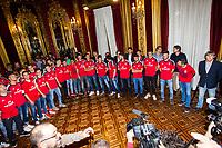 Osasuna's players during the celebration for promotion to La Liga BBVA at Navarra palace, with the presence of Uxue Barkos, president os Navarra . 19,06,2016. (ALTERPHOTOS/Rodrigo Jimenez)