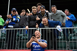 Max Lahiff of Bath Rugby poses for a selfie with supporters in the crowd - Mandatory byline: Patrick Khachfe/JMP - 07966 386802 - 05/05/2019 - RUGBY UNION - The Recreation Ground - Bath, England - Bath Rugby v Wasps - Gallagher Premiership Rugby