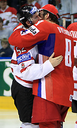 Mike Green (52) of Canada in hug with Alexander Ovechkin (8) of Russia after  ice-hockey game Canada vs Russia at finals of IIHF WC 2008 in Quebec City,  on May 18, 2008, in Colisee Pepsi, Quebec City, Quebec, Canada. Win of Russia 5:4 and Russians are now World Champions 2008. (Photo by Vid Ponikvar / Sportal Images)