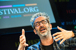 © London News Pictures. 25/05/2015. Hay-on-Wye, Powys, Wales, UK. David Lionel Baddiel, English comedian, novelist and television presenter, in conversation at the Hay Festival 2015. Photo credit : Graham M. Lawrence/LNP.