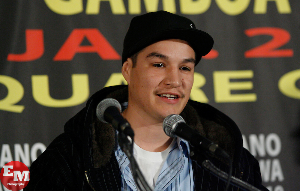 Dec 3, 2009; New York, NY, USA; Steven Luevano at the press conference announcing his January 23, 2010 against Juan Manuel Lopez at Madison Square Garden.