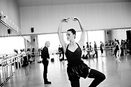 Choreographer Peter Martins and NYC ballet in Copenhagen. The dancers rehearsal is for George Balanchine's The Four Temperaments.  Megan LeCrone (soloist)