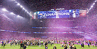 Confetti rains down on Super Bowl LI at NRG Stadium in Houston, Texas after the New England Patriots stun the Atlanta Falcons by coming back from a 28-3 deficit to win 34-28. The overtime victory (the first in Super Bowl history) gives Tom Brady and Bill Belichick their fifth Super Bowl titles, new quarterback and head coach records.