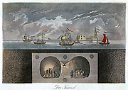 Cross-section showing position of Thames and M.I. Brunel's double arched masonry tunnel (1825-43)  I.K. Brunel acted as site engineer. Still used by electric trains. German aquatint c1830.
