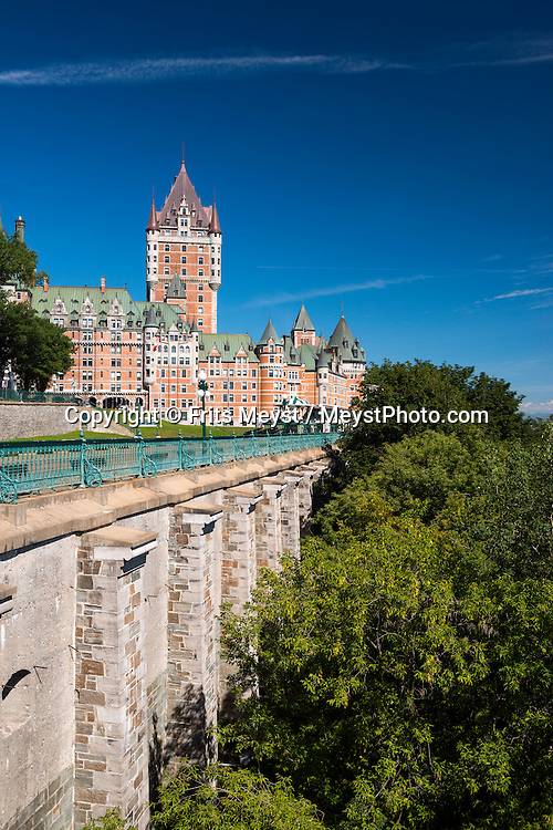 Quebec, Canada, August 2014. Le Chateau Frontenac, Quebec's most famous landmark.Old Québec is famous for its European charm and well-preserved architectural treasures. The entire district, which is best explored on foot, is a living history book, and every garden, building and street corner is its own chapter. Quebec province is unique among North American tourist destinations. Its French heritage does not only set the province apart from most of its English speaking neighbors, it is also one of the few historical areas in North America to have fully preserved its Francophone culture. Its European feel and its history, culture and warmth have made Quebec a favourite tourist destination both nationally and internationally. Photo by Frits Meyst / MeystPhoto.com