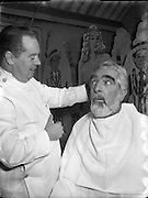 23/12/1955<br /> 12/23/1955<br /> 23 December 1955<br /> <br /> Mr Noel Purcell having his beard removed for Pantomime - Special for Radio Review