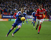 Ipswich striker Freddie Sears on the attack and driving into box during the Sky Bet Championship match between Charlton Athletic and Ipswich Town at The Valley, London, England on 28 November 2015. Photo by Matthew Redman.