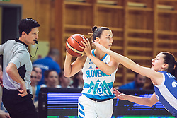 Teja Oblak of Slovenia vs Angelika Slamova of Slovakia during Women's Basketball - Slovenia vs Slovaska on the 14th of June 2019, Dvorana Poden, Skofja Loka, Slovenia. Photo by Matic Ritonja / Sportida